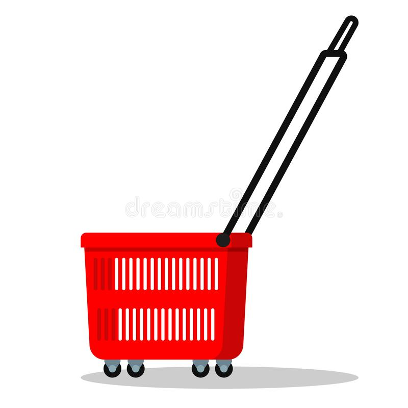 Color simple template icon of red plastic shopping basket with wheels and long handle stock illustration