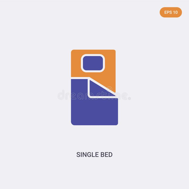 2 color Single bed concept vector icon. isolated two color Single bed vector sign symbol designed with blue and orange colors can vector illustration