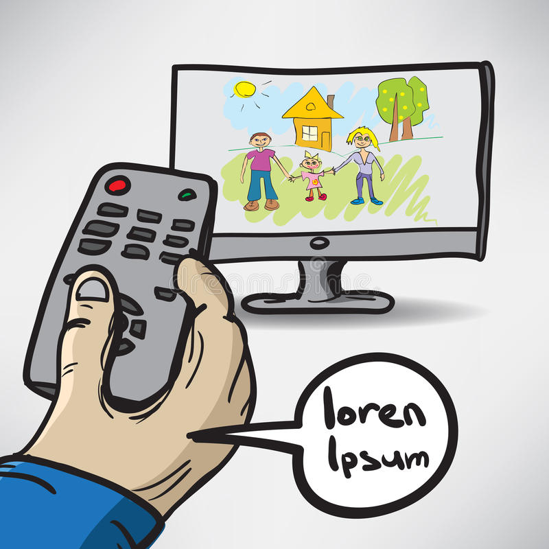 Color sketch hand turns on the TV which shows the family.  vector illustration