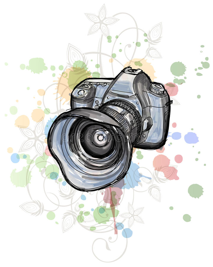 Free Color Sketch Of A Digital Photo Camera Royalty Free Stock Photo - 18175585