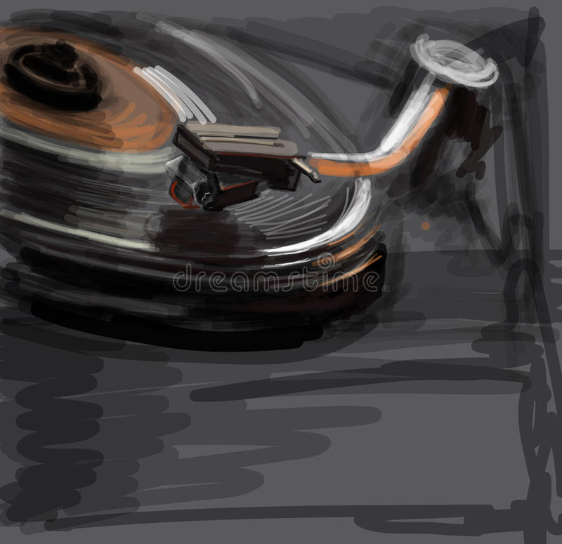 Color sketch of an old turntable royalty free illustration