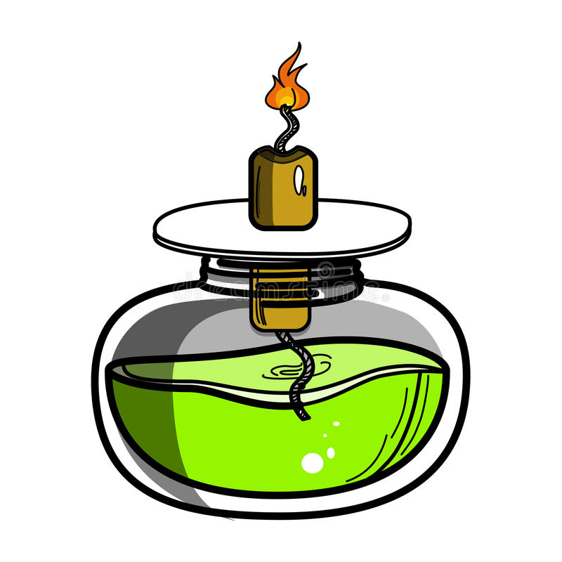 Color sketch of spirit lamp chemical burner royalty free illustration