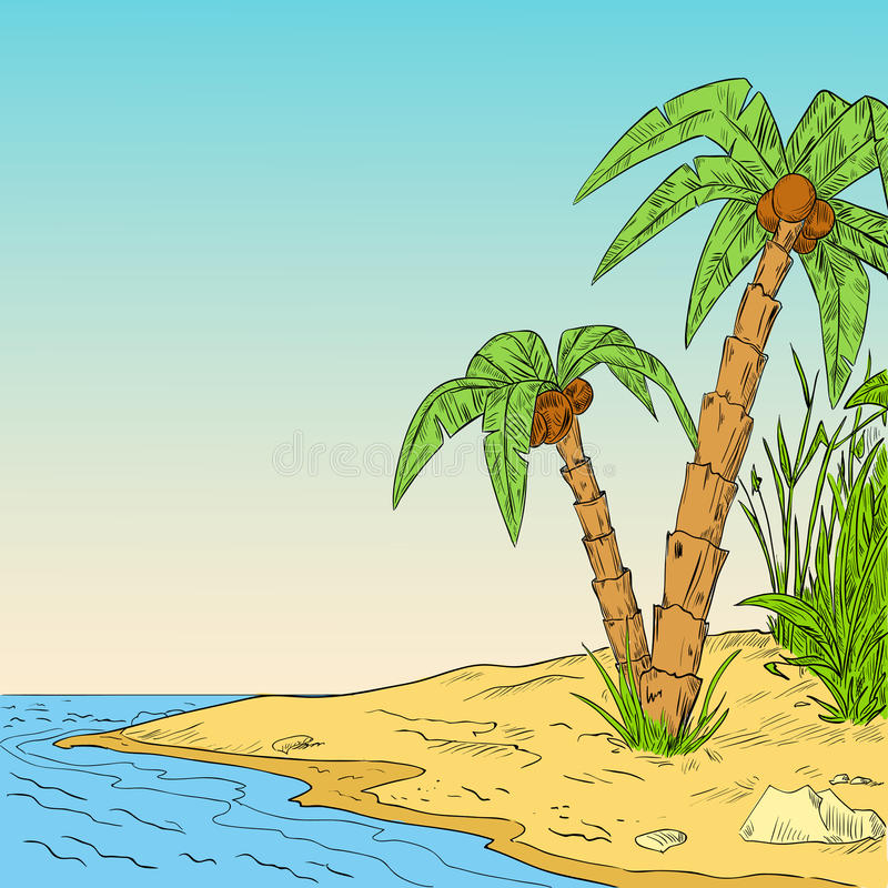 Color sketch of tropical palm on coast of ocean stock illustration