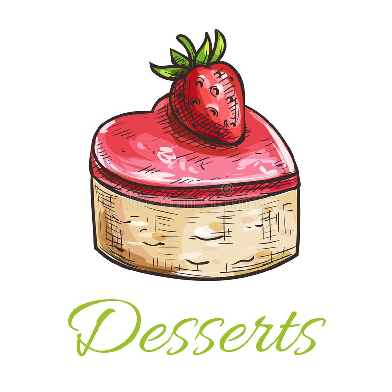 Color sketched cake with strawberry for patisserie. Vector dessert cake emblem. Color sketched cupcake with strawberry and marmalade topping. Template for cafe stock illustration