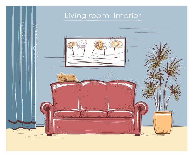 Color Sketchy Interior Illustration Of Living Room.Vector Hand D ...