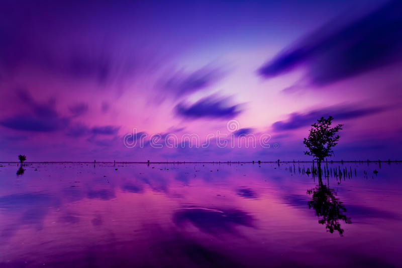 Color sky in the lake at sunset royalty free stock image