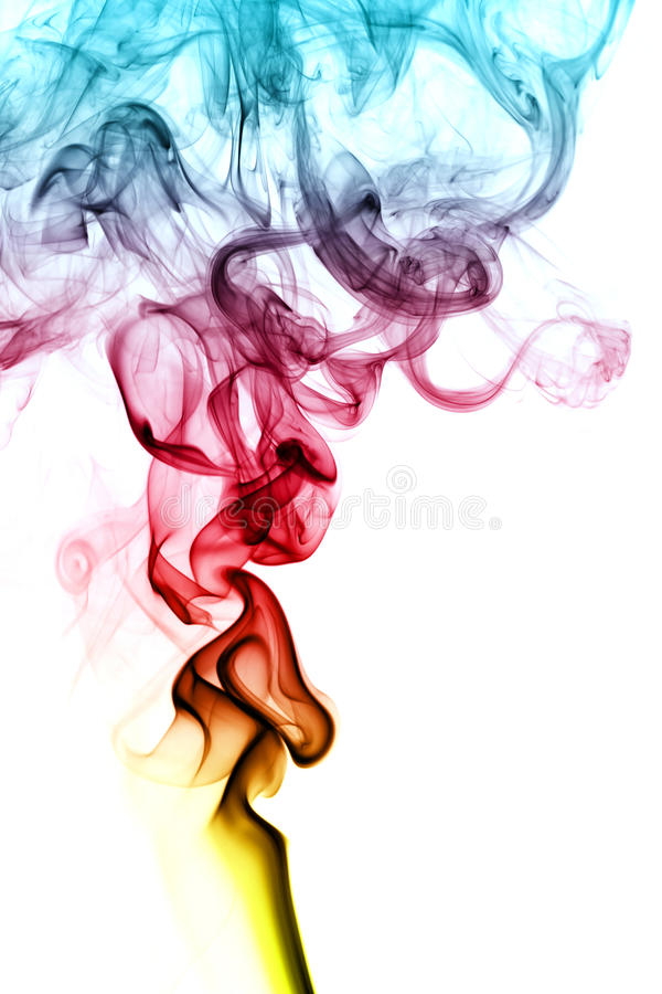Color smoke. Abstract color smoke isolated on white background, with copy space royalty free stock photography