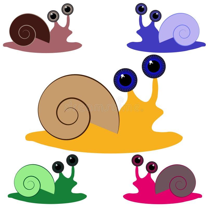 Color snail on white background stock illustration
