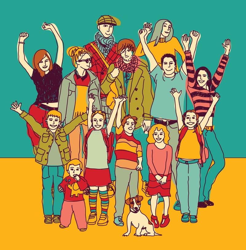 Color sonriente feliz grande del grupo permanente de la familia stock de ilustración