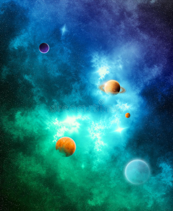 The Color of Space. A detailed space nebula with planets in vibrant colors (Illustration royalty free illustration