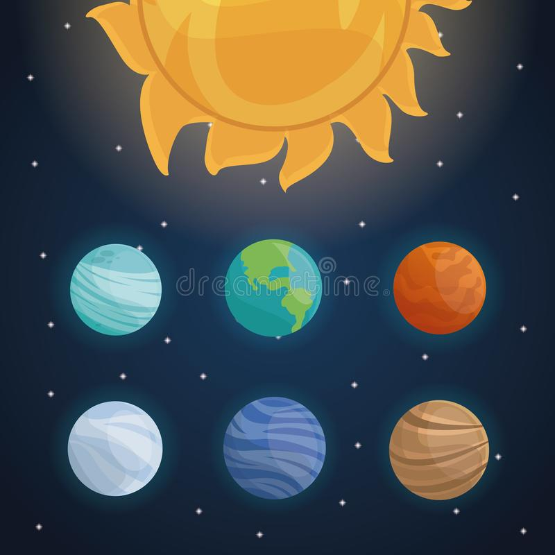 color space landscape background with solar system and planets stock