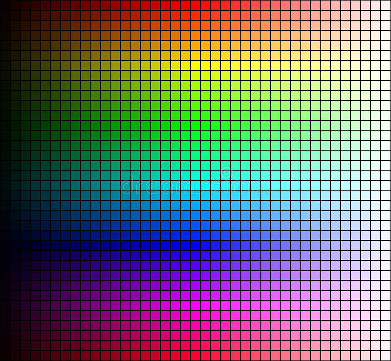 Color spectrum mosaic, hue and brightness, on black background. Vector royalty free illustration