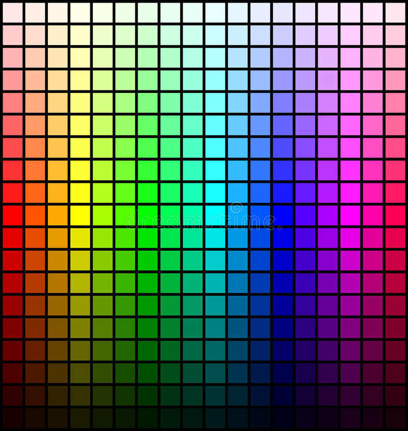 Color spectrum palette, hue and brightness, on black background. Vector. Illustration royalty free illustration