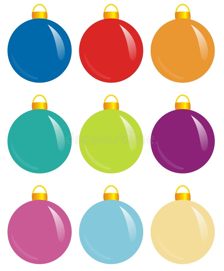Color spheres. Illlustration of nine colorful design spheres for xmas stock illustration