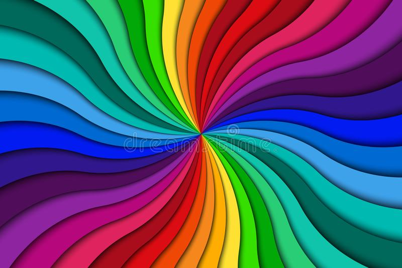 Color spiral background, bright colorful swirling radial pattern vector illustration