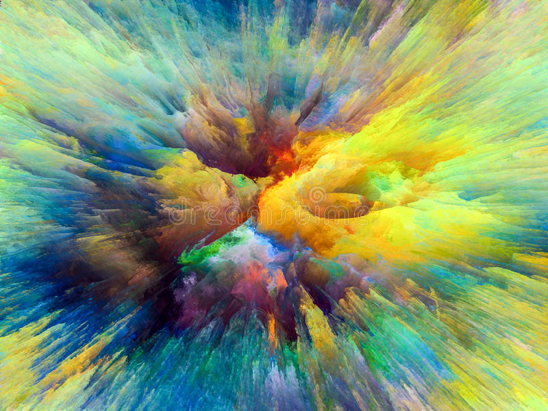 Color Splash. Color Explosion series. Splash of fractal paint on the subject of creativity and art vector illustration