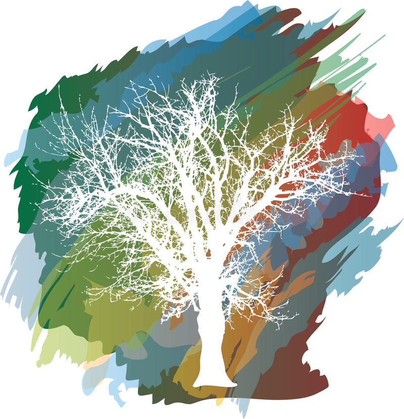 Color splash tree vector illustration