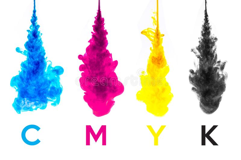 Color splashes of ink stock photo