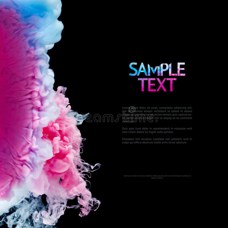 Color splashes of ink isolated on black background. Abstract paint in water motion. Swirling colorful drops. Color splashes of ink isolated on black background stock photos