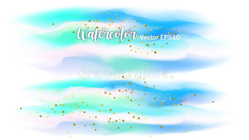 The color splashing in the paper. Watercolor brush strokes with gold glitter isolated on white. Creative illustration. Artistic. Color palette. Fashion royalty free illustration