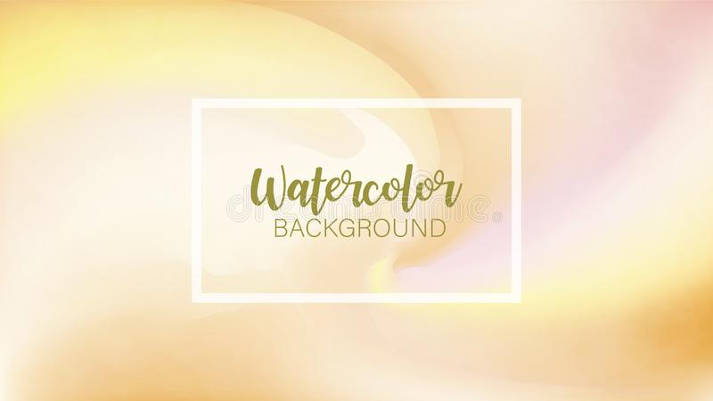 The color splashing in the paper with white frame. Watercolor brush strokes. Creative illustration. Artistic color palette. The color splashing in the paper stock illustration