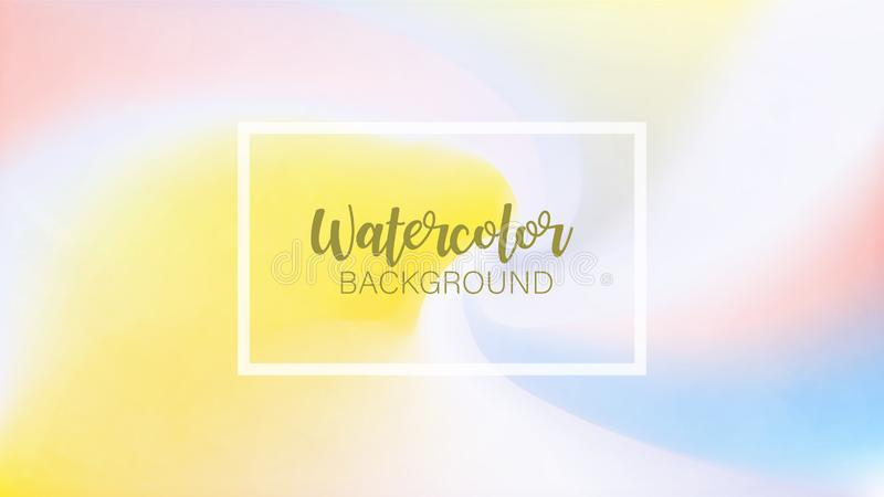The color splashing in the paper with white frame. Watercolor brush strokes. Creative illustration. Artistic color palette. The color splashing in the paper vector illustration