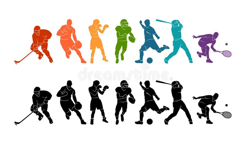 Color sport background. Football, soccer, basketball, hockey, box, tennis, baseball. Vector illustration colorful people silhouett vector illustration