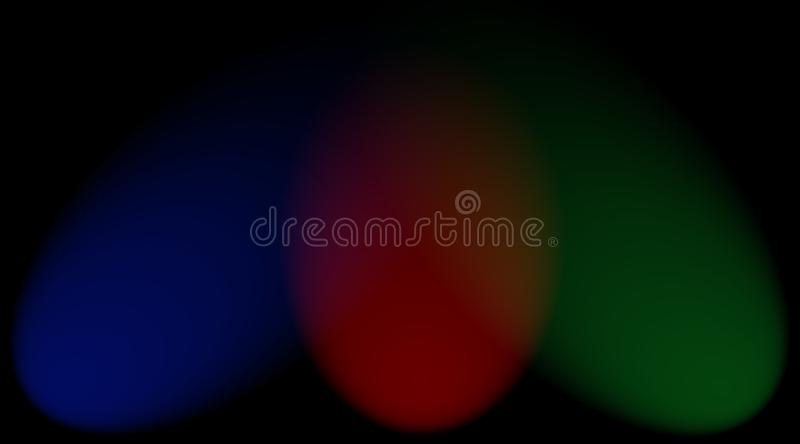 RGB colors spotlights on a black background stock images