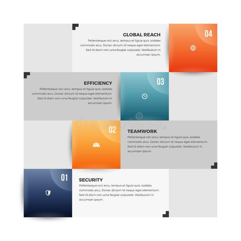 Color Square Infographic. Vector illustration of color square infographic design element royalty free illustration