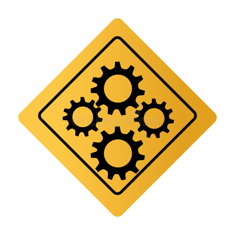 Color square road sign with gear wheels vector illustration