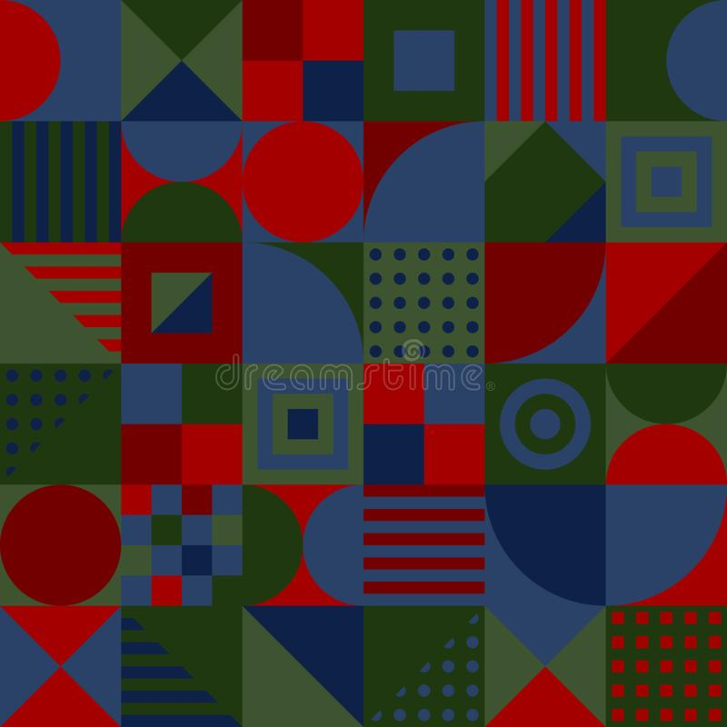 color squares, triangles, rectangles, circles. vector seamless pattern. simple geometric shapes. textile repetitive paint royalty free illustration