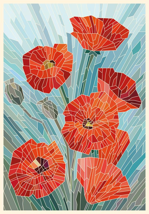 Color Stained Glass. Large flowers poppies on a gray turquoise background. Light lines. Vector full color graphics stock illustration
