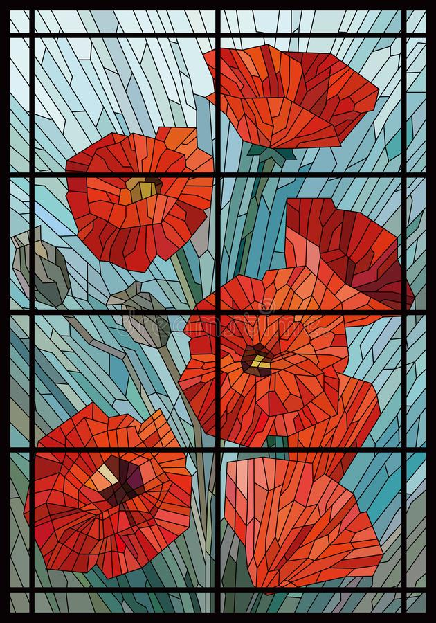 Color Stained Glass. Large flowers of poppies on a gray turquoise background in the window. Black lines. Vector full color graphics vector illustration