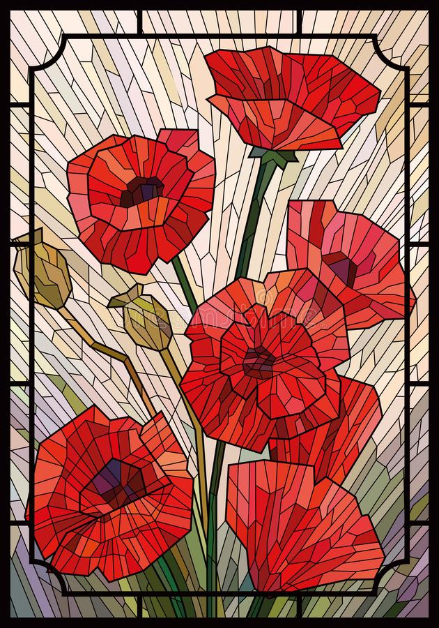 Color Stained Glass. Large flowers of poppies on a light beige background in a geometric frame. Black lines. Vector full color graphics vector illustration