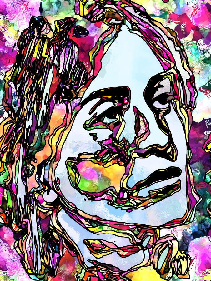 Color stained glass portrait pattern royalty free stock image