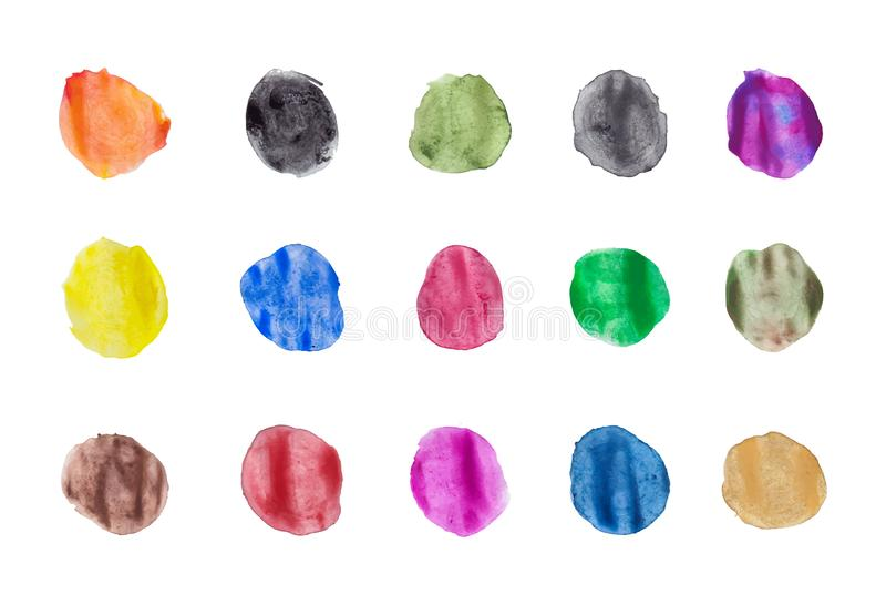 Color stains, blobs of different colors. Set of watercolor paint dots. Watercolor blobs. Set of colorful gouache  hand painted circles isolated on white vector illustration