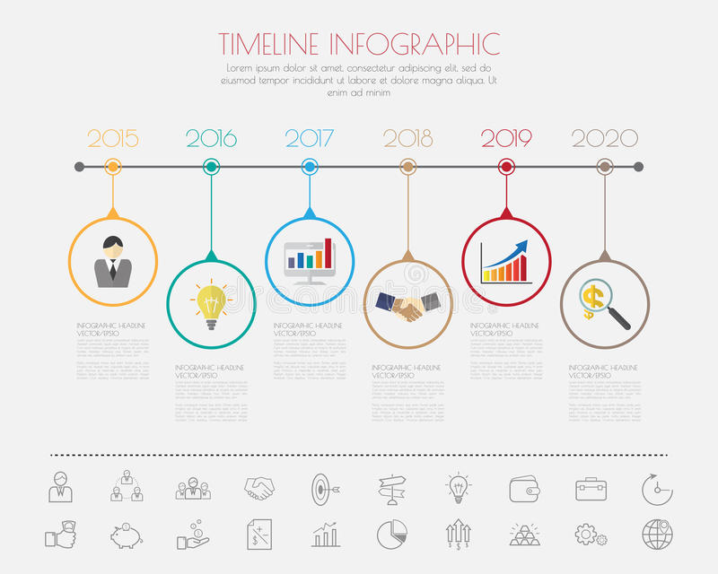 Color Step Design With Colour Icon Timeline Templategraphic Or - Timeline graphic template
