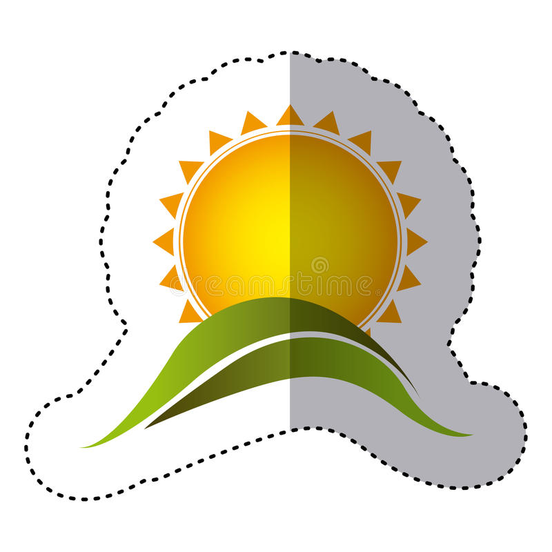Color sticker with abstract sun over green hill. Illustration stock illustration