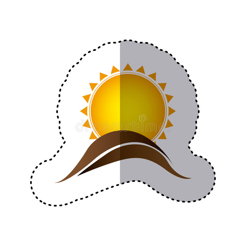 Color sticker with abstract sun over hill of land. Illustration vector illustration