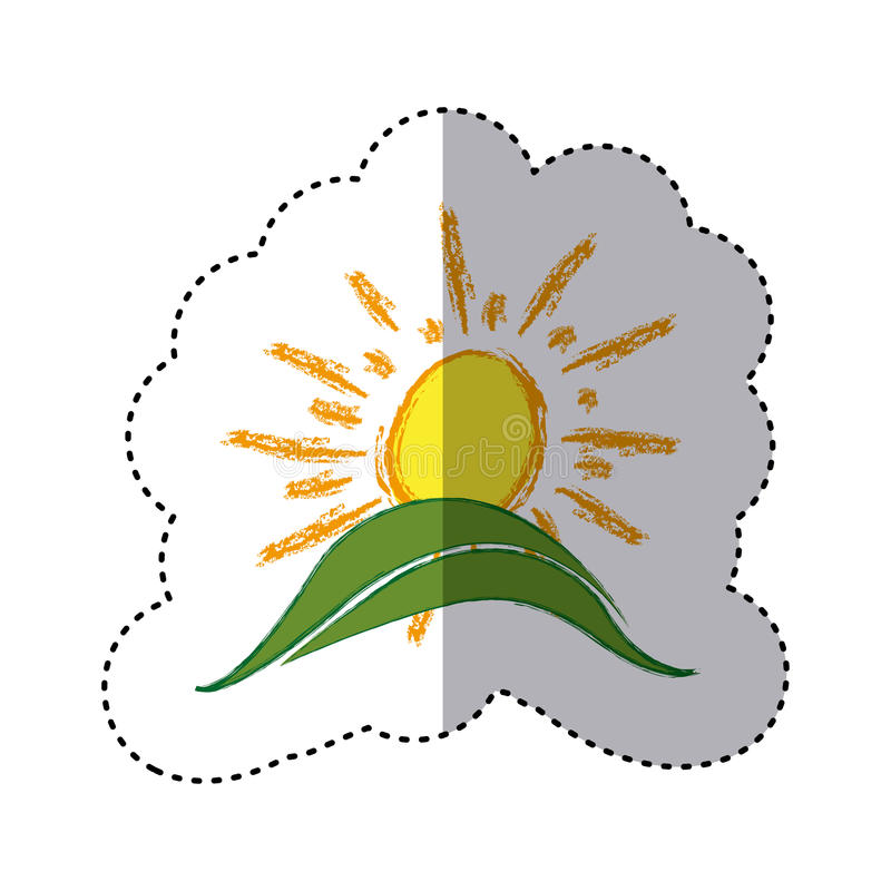 Color sticker with hand drawn sun over green hill. Illustration royalty free illustration