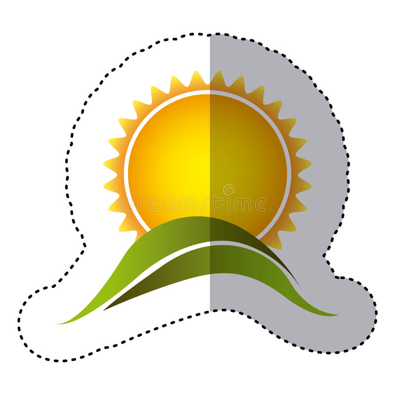 Color sticker with sun over green hill close up. Illustration royalty free illustration