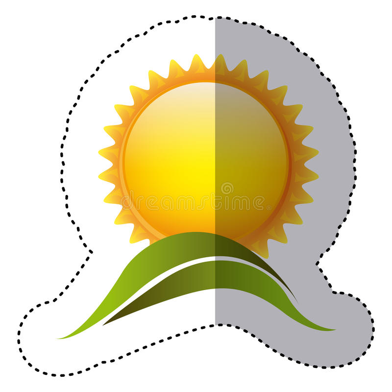 Color sticker with sun over green hill. Illustration stock illustration