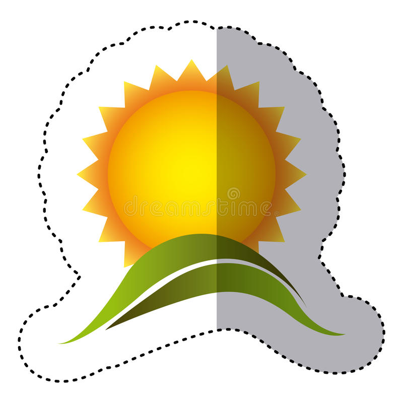 Color sticker with sun over green hill. Illustration royalty free illustration