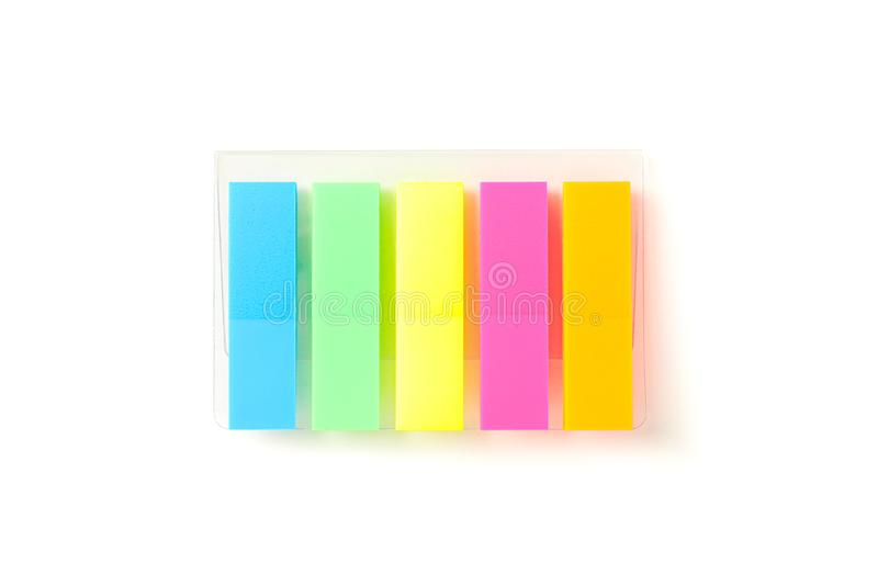 Color stickers in transparent packaging isolated stock images
