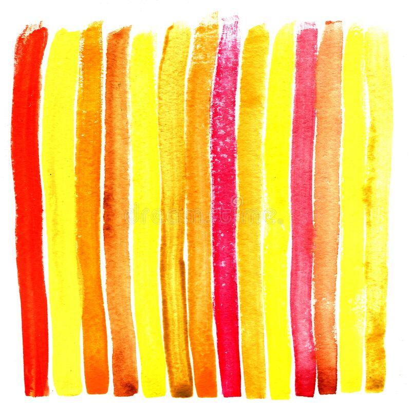 Color strip of a wet watercolor paint on water  textural paper stock image