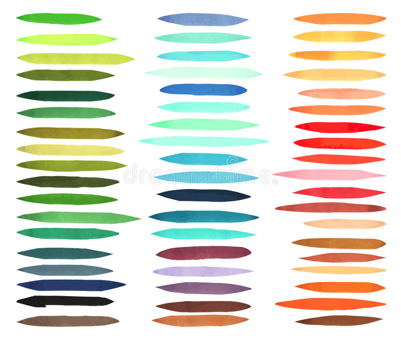 Color stripes brushes drawn with japan markers. Stylish elements for design. Vector marker stroke. Bright color vector illustration