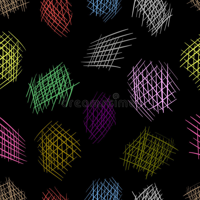 Color strokes. The colorful shaded elements against a dark background seamless texture vector illustration