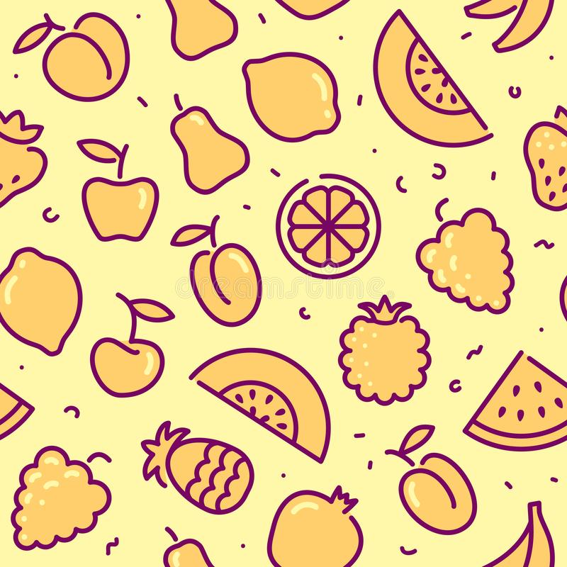 Stylized background of fruit. Vector icons stock illustration