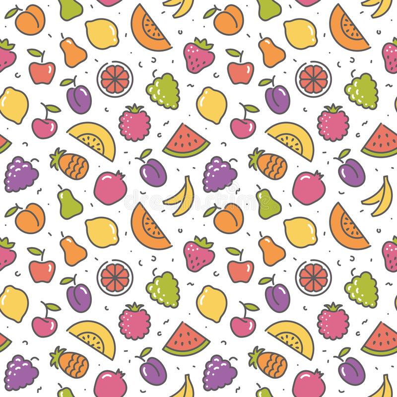 Stylized background of fruit. Vector icons royalty free illustration