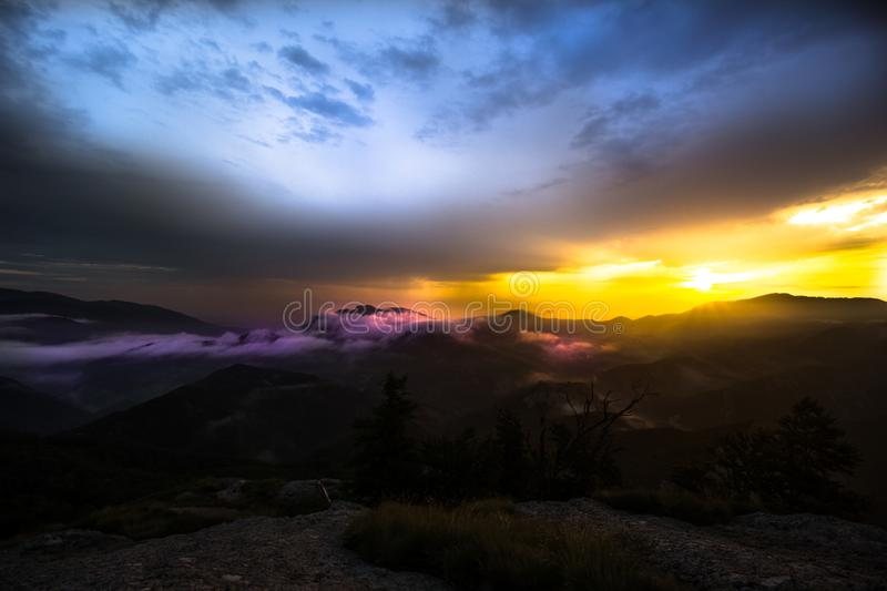 Color sunrise from the rock stock image